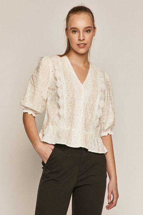 Bawełniana bluzka damska z ozdobnymi haftami biała