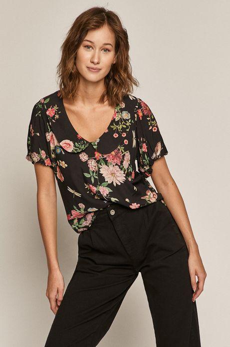 Bluzka damska w kwiaty z okrągłym kołnierzem czarna
