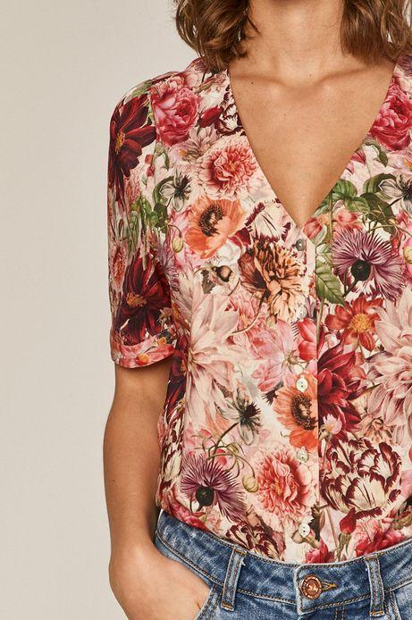 Koszula damska w kwiaty z dekoltem V