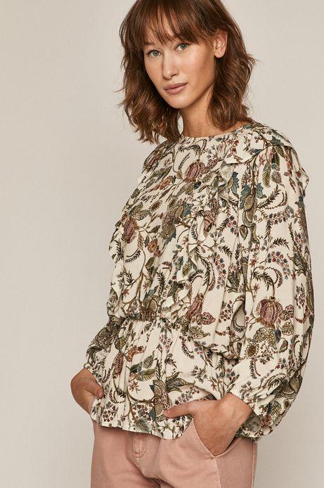 Wzorzysta bluzka damska z ozdobnymi falbanami kremowa