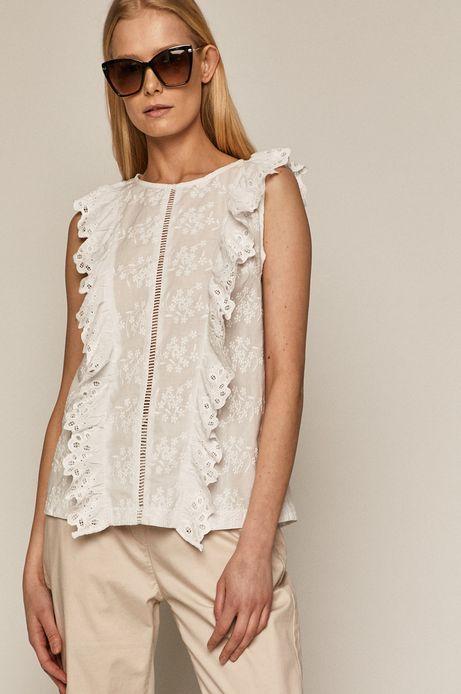Bawełniana bluzka damska z haftem i falbanką biała