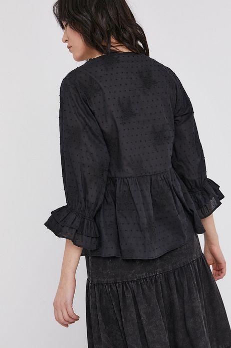 Bluzka damska z baskiną z tkaniny plumeti czarna