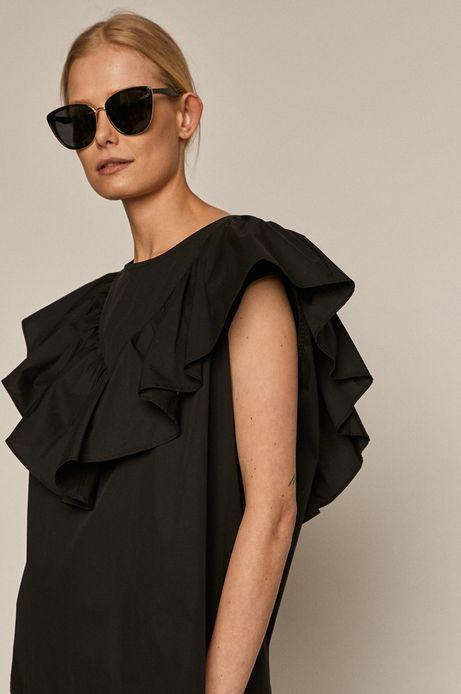 Bluzka damska oversize z falbanką czarna