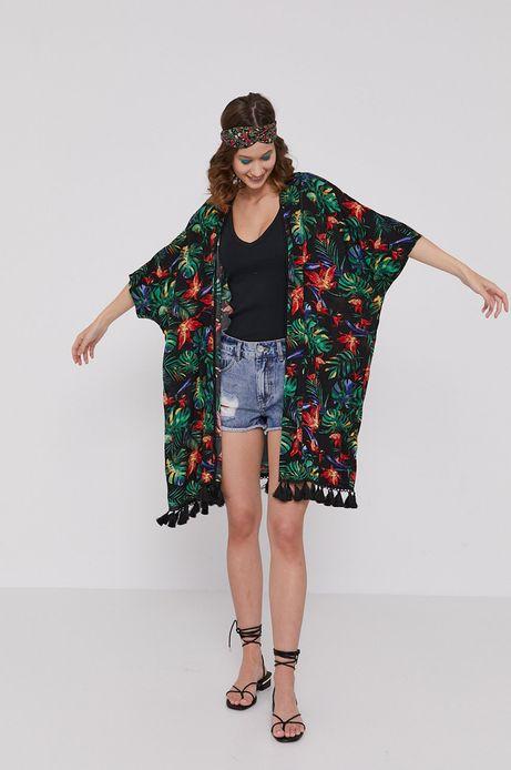 Wzorzyste kimono z frędzlami