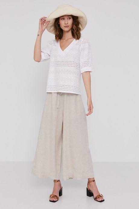 Bawełniana bluzka damska z haftem biała
