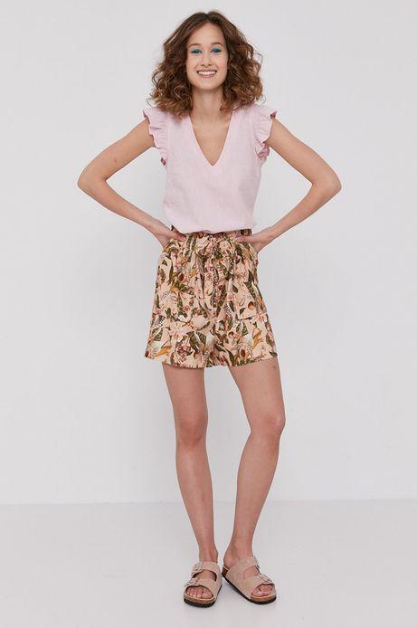 Bluzka damska z domieszką lnu z falbankami różowa