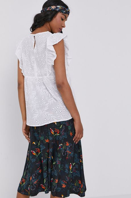 Ażurowa bluzka damska z falbanką biała