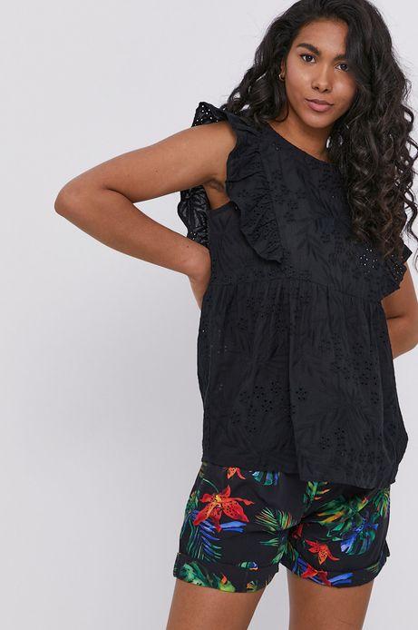Ażurowa bluzka damska z falbanką czarna