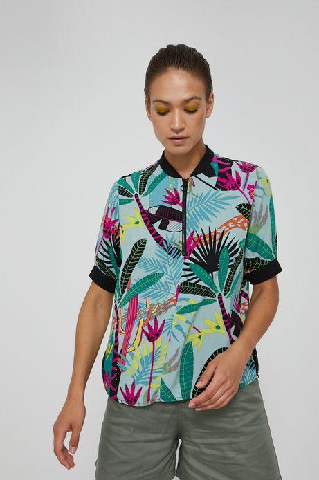Wzorzysta bluzka damska z suwakiem turkusowa