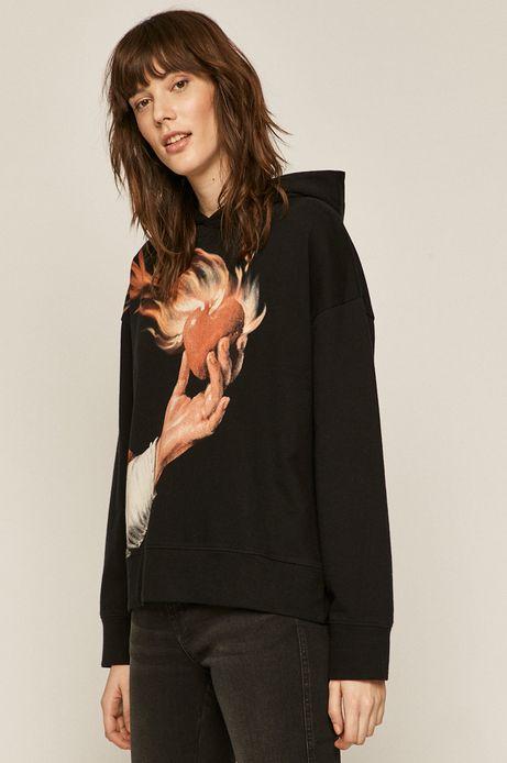 Bawełniana bluza damska z nadrukiem czarna