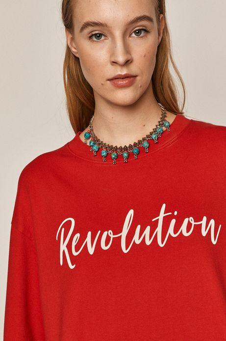 Bawełniana bluza damska z napisem czerwona