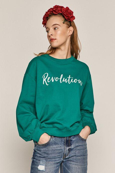 Bawełniana bluza damska z napisem zielona