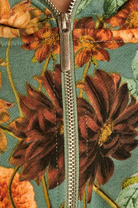 Bawełniana bluza damska z motywem kwiatowym zielona