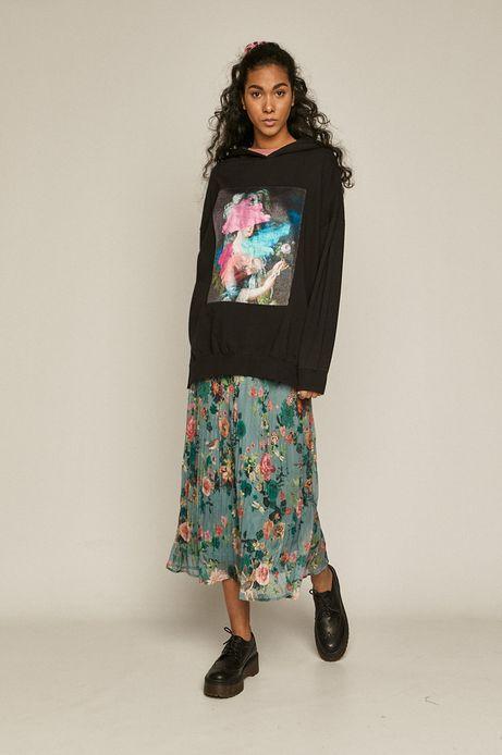 Bluza damska oversize z nadrukiem czarna