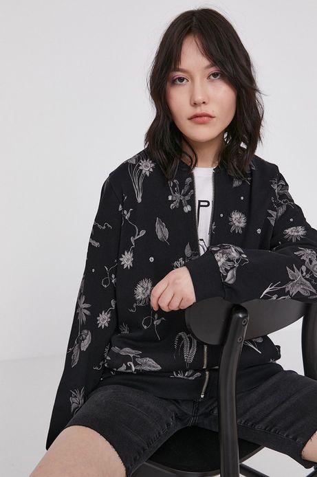 Bawełniana bluza damska w roślinny wzór czarna