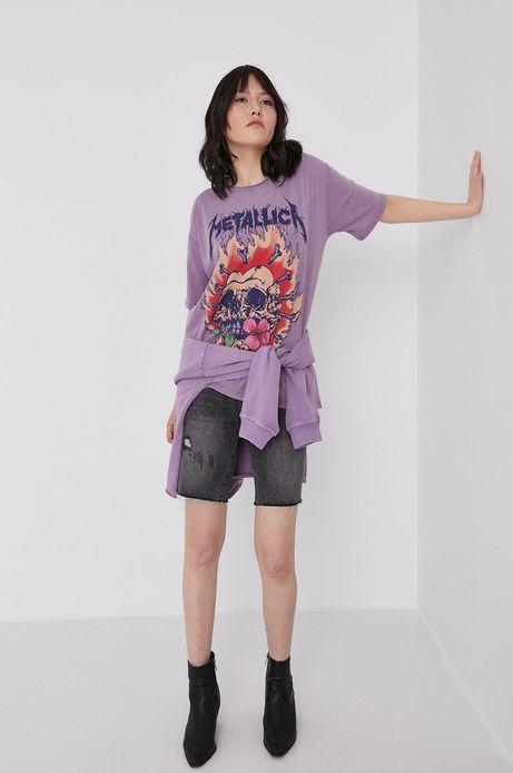 Bawełniana bluza damska z kapturem fioletowa