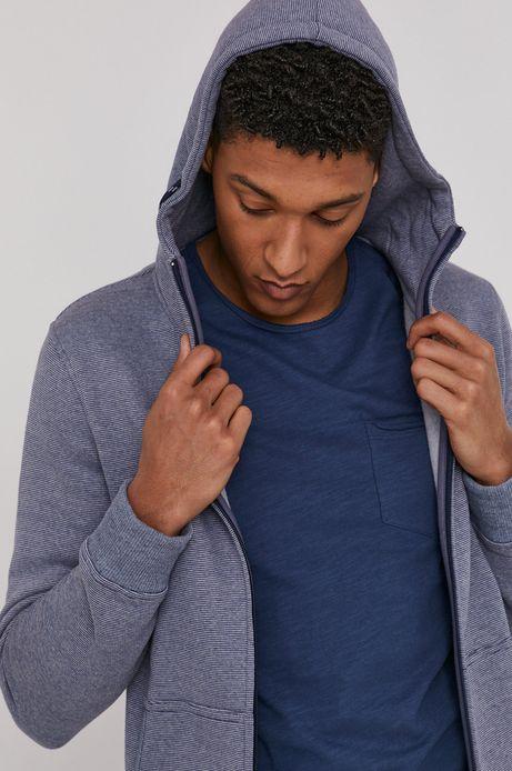 Bluza męska z kapturem w drobny wzór niebieska