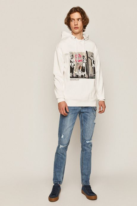 Bawełniana bluza męska Banksy's Graffiti biała