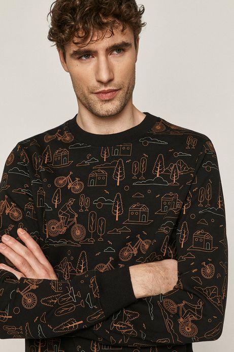 Bluza męska z wzorzystej dzianiny czarna