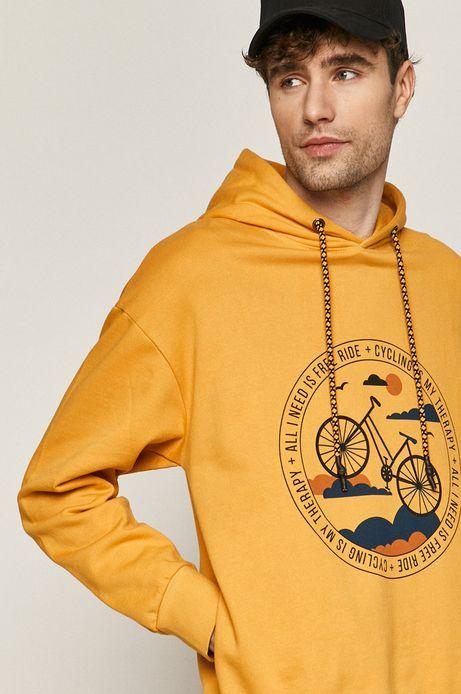 Bawełniana bluza męska z nadrukiem żółta