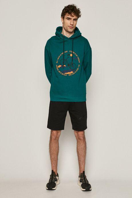Bawełniana bluza męska z nadrukiem zielona