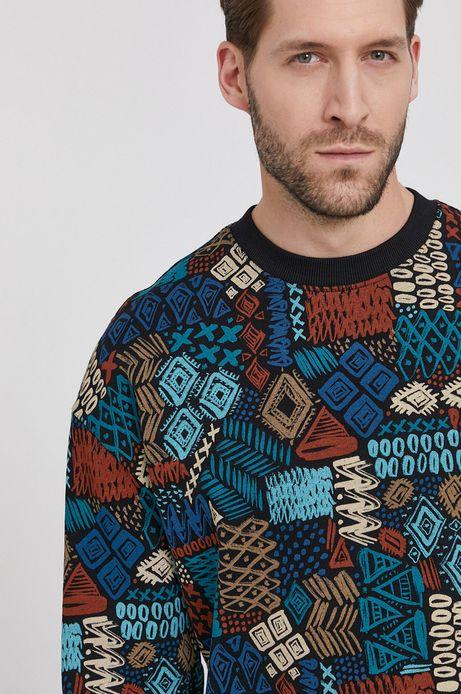 Bawełniana bluza męska z wzorzystej dzianiny czarna
