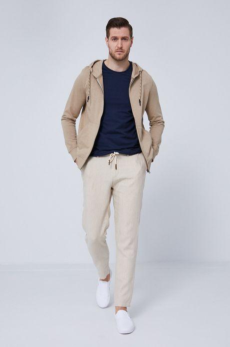 Bawełniana bluza męska z kapturem beżowa
