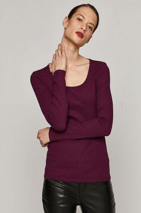 Longsleeve damski z bawełną organiczną purpurowy