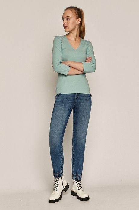 Longsleeve damski z bawełny organicznej turkusowy