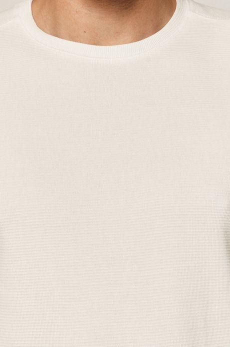 Bawełniany longsleeve męski z gładkiej dzianiny biały