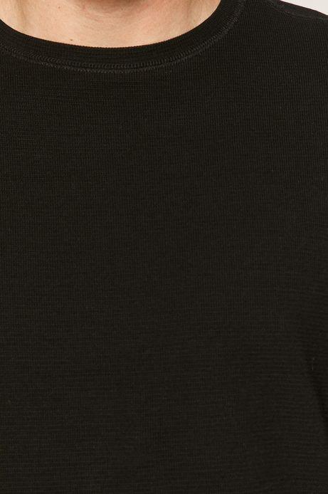 Bawełniany longsleeve męski z gładkiej dzianiny czarny