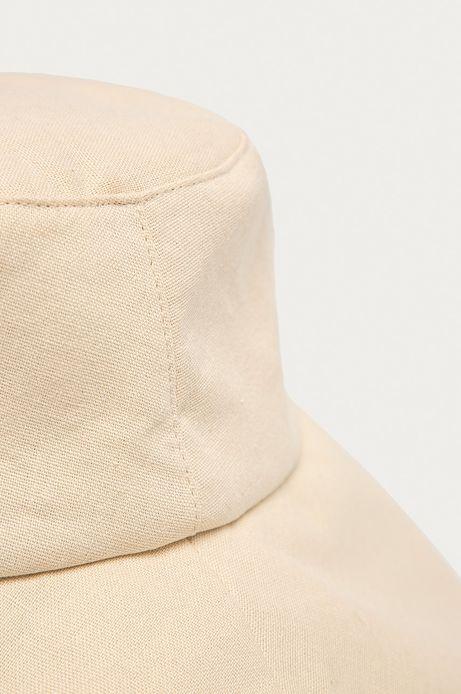 Lniany kapelusz damski z wiązaniem beżowy