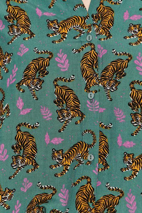 Koszula damska w tygrysy zielona