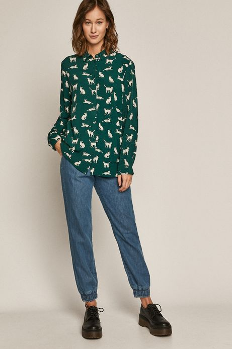 Koszula damska wzorzysta turkusowa