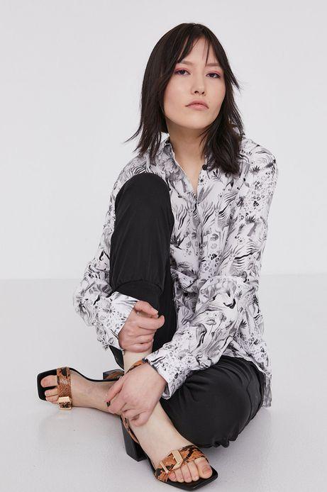 Wzorzysta koszula damska z wiskozy biała