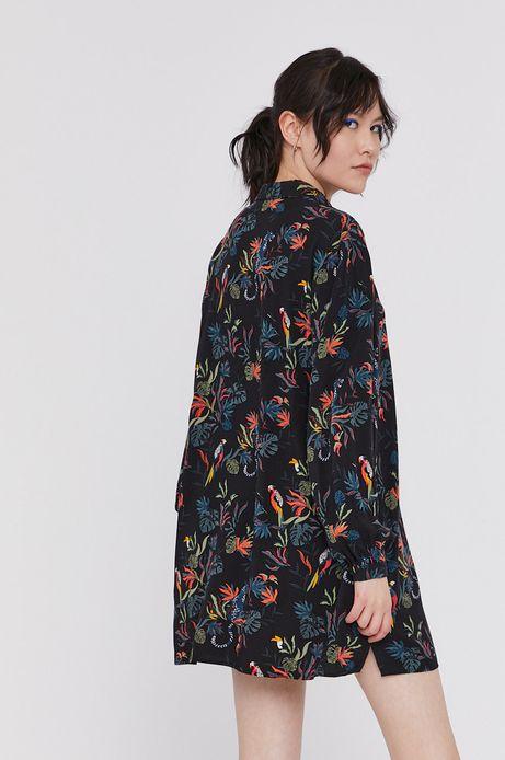 Długa wzorzysta koszula damska z wiskozy czarna