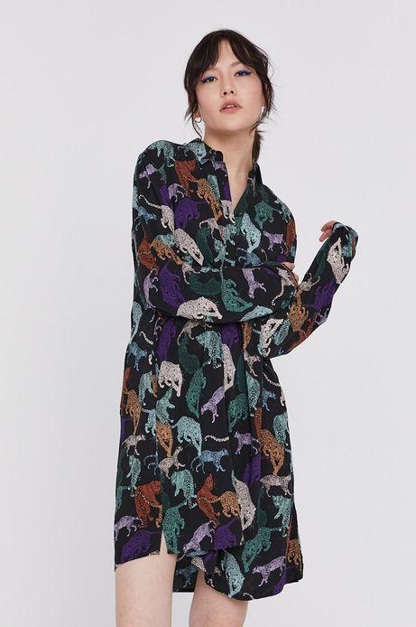 Długa  wzorzysta koszula damska z wiskozy