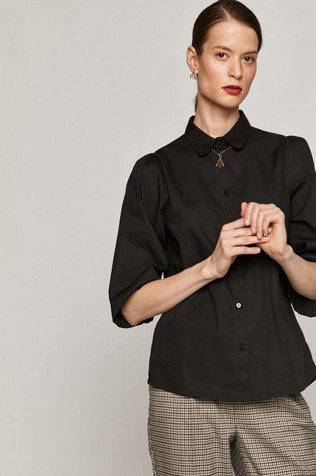 Koszula bawełniana damska z bufiastymi rękawami czarna