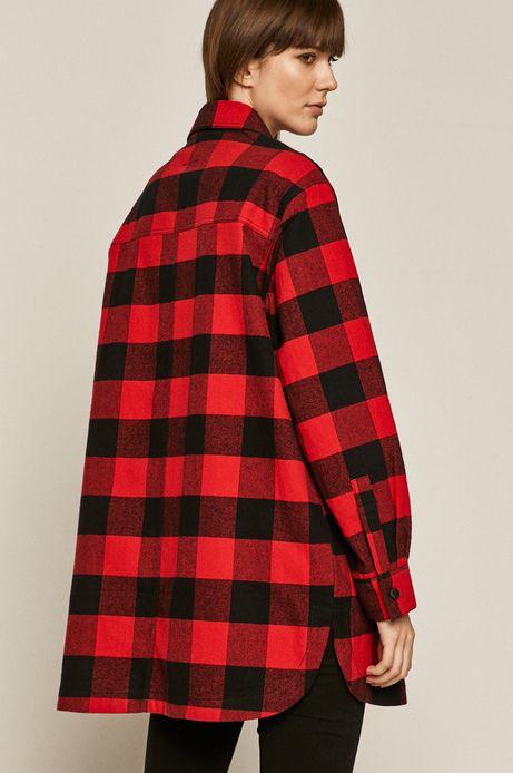 Koszula damska oversize w kratę czerwona