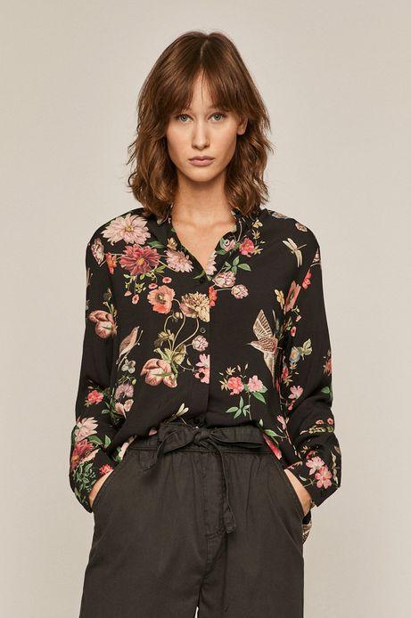 Koszula damska w kwiaty czarna