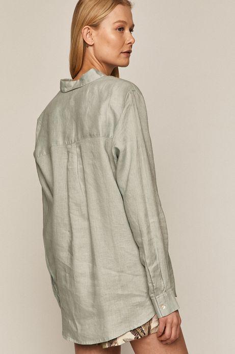 Koszula damska lniana turkusowa