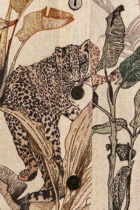 Koszula damska z domieszką lnu kremowa