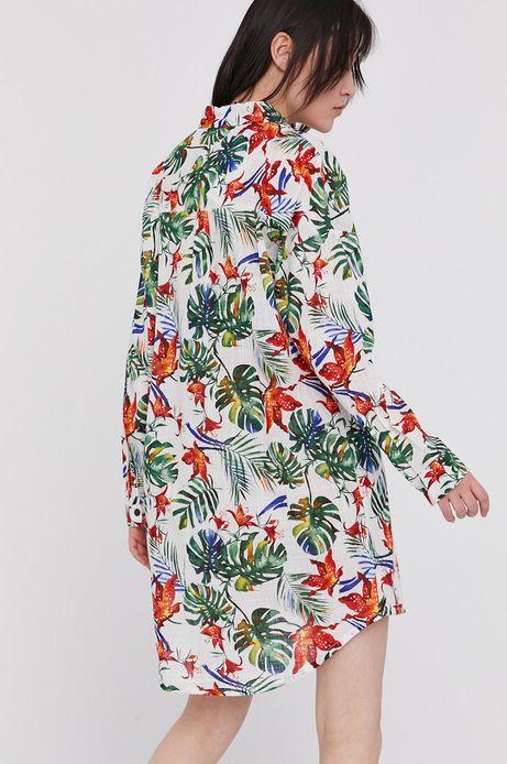 Bawełniana koszula damska z wzorzystej tkaniny biała