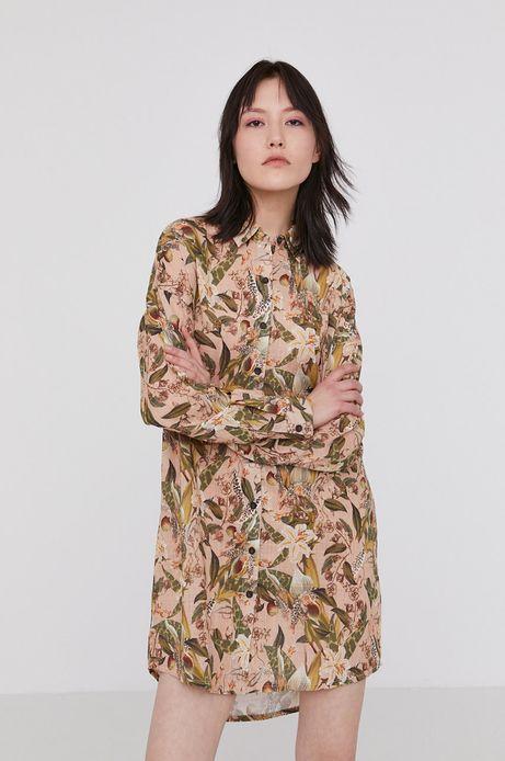 Bawełniana koszula damska z wzorzystej tkaniny beżowa