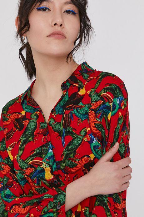 Wzorzysta koszula damska z wiskozy czerwona