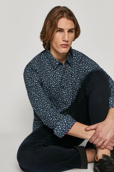 Koszula męska slim w kwiatowy wzór granatowa