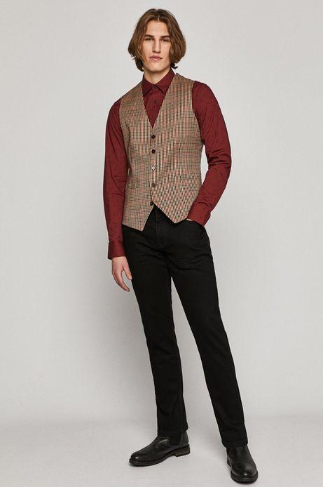 Koszula męska slim w drobny wzór bordowa