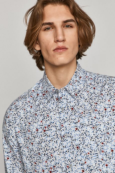 Koszula męska slim w drobny wzór biała
