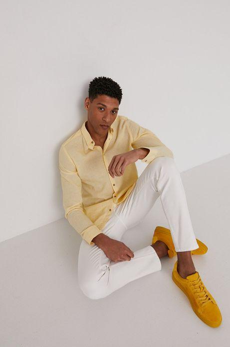 Koszula męska lniana żółta