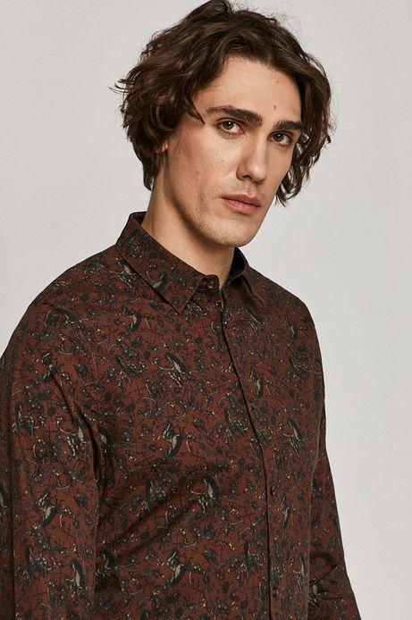 Koszula męska wzorzysta bordowa